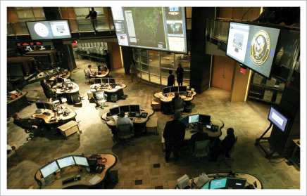 The FBI and CIA Watch Centers are co-located with agenices throughout the Intelligence adn Homeland Security communitiesin the National Counterterrorism Center. Photo credit: NCTC