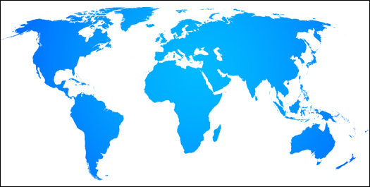 Blue Map of the World on White Background (Stock Image)