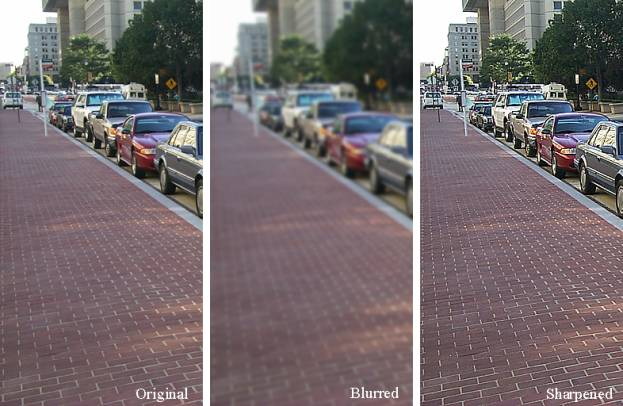Figure 1 is a series of three side-by-side photographs of the same line of cars parked along a city curb. The left is the original, the middle is blurry, and the right shows a sharp photograph with the appearance of artifacts.