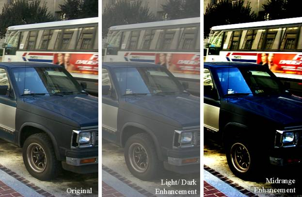 Figure 2 is a series of three side-by-side photographs of the same car and bus. The left is the original; the middle looks faded; the right is highly contrasted, at the expense of shadow and highlight areas.