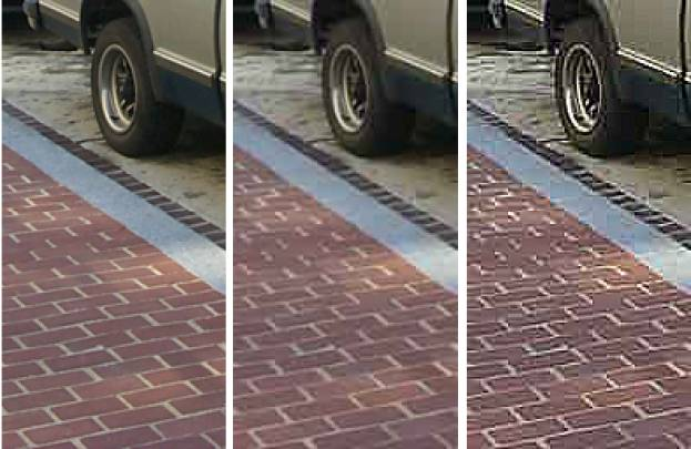 Figure 3 is a series of three side-by-side photographs of the same car wheel. The left photograph is the original; the middle has lost some clarity; the right has lost even more clarity with many artifacts introduced.
